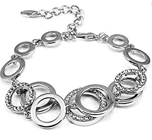 Yellow Chimes Circles of Love Stylish Silver Plated Charm Bracelet for Women (YCFJBR-618CRCLS-SL)