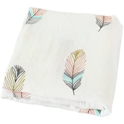 Lifetree Baby Muslin Swaddle Blanket -Feather Print Bamboo Cotton Baby Swaddle Wrap, Burping Cloth & Stroller Cover - Gender Neutral Baby Girl Or Baby Boy Blanket