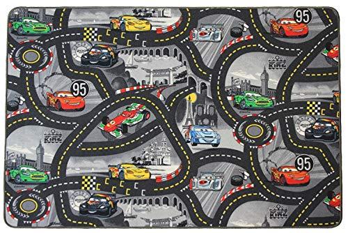 Spielteppich Straße Kinderteppich Disney Cars - 200x300cm, Anti-Schmutz-Schicht, Auto-Spielteppich für Mädchen & Jungen, Kinderteppich Strasse Fußbodenheizung geeignet