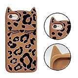 iPhone 6S Hülle, MingKun TPU Silikon Leopard Handyhülle für iPhone 6S 6 Schutzhülle Cartoon Cute Beard Katze Weich Zurück Case Cover - Panther Braun