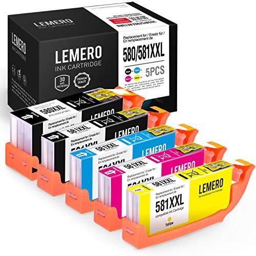 5 LEMERO Kompatibel PGI-580 CLI-581 XXL Druckerpatronen für Canon PIXMA TS6150 TS6151 TS6250 TR7550 TR8550 TS8150 TS8151 TS8152 TS9150 TS9155 Drucker, PGBK/Schwarz/Cyan/Magenta/Gelb -
