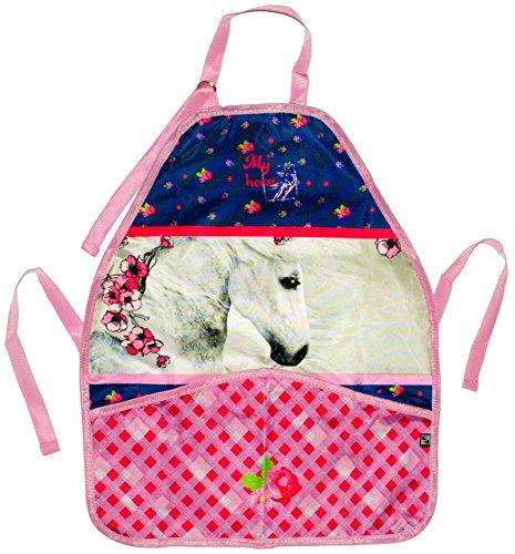 alles-meine.de GmbH Kinderschürze -  Pferd mit Blumen & Schmetterling  - mitwachsend - größenverstellbar & mit 2 Taschen - universal Schürze / beschichtet & wasserdicht - für M..