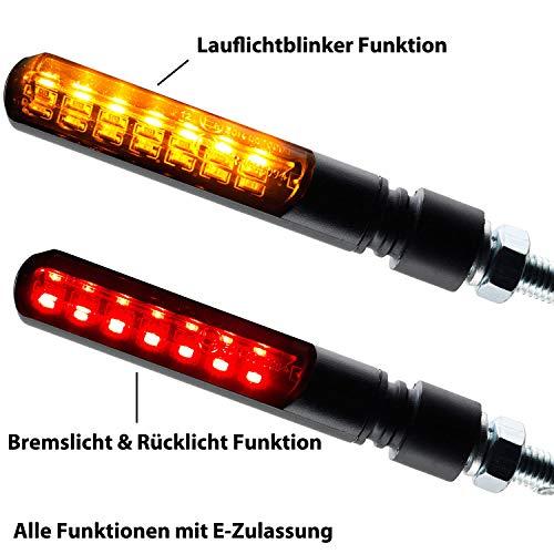 fanale posteriore a LED Boston per motociclo luce targa omologazione E rosso Germany Motorsports colore nero vetro universale