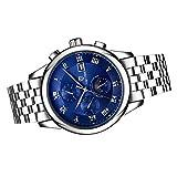 MagiDeal Orologio Impermeabile Automatico Meccanico Di Sport Wristwatch Accaio Inossidabile Display Analogico - Blu
