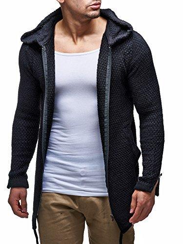 LEIF nELSON lN6002 cardigan en tricot pour homme Noir - Noir