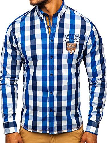 BOLF Hombre Camisaa Cuadros De Manga Larga Cuello Americano Slim Fit Estilo Casual 1766-1 Azul L [2B2]...