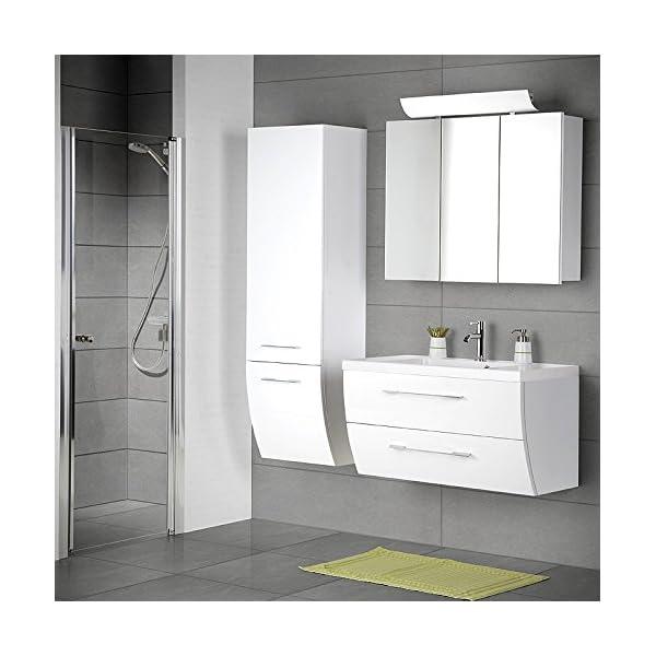 Komplett Badezimmer Set Hochglanz weiß Badezimmermöbel Waschplatz  Spiegelschrank