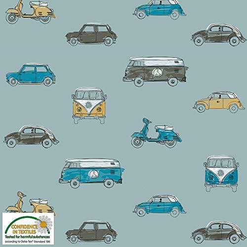 Autojersey-Stoff - VW's Minis - Loopback Jersey Sweat Stoff - von Stof Fabrics - 95% Baumwolle 5% Elastan Spandex Stretch Jersey Sweat Knit Stoff blau -