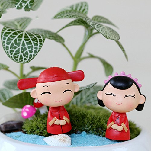 QILEGN - Miniature Decorative Figure for Fairy Garden, Chinese Bride and Groom (Red)