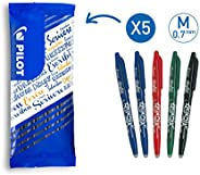 Pilot - Lot de 5 Stylos Roller FriXion Ball - Stylo Gel Roller Effaçable - 2 Bleus, Rouge, Vert, Noir - Pointe