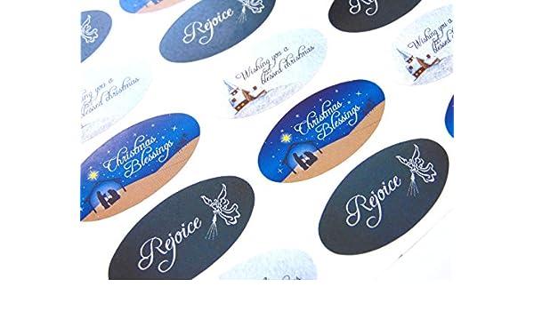 Pack of 30 Christliche, Religiöse Weihnachten Oval Sticker, Bunt ...