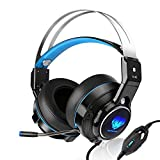 BUTFULAKE SL-320 Wired Stereo Gaming Headset for PS4, Xbox One Controller, Over-Ear PC Gaming Headphones with Noise Cancelling Microphone and LED Light, Blue/Black