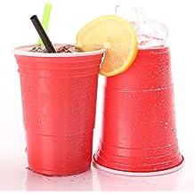 TRESKO® Bicchieri per feste bicchieri usa e getta bicchieri di plastica tazze per Bevande bicchieri per Bevande Birra Cola Cocktail Beer Birra Pong rosso capienza 473 ml, 100 pezzi, di alta Qualità