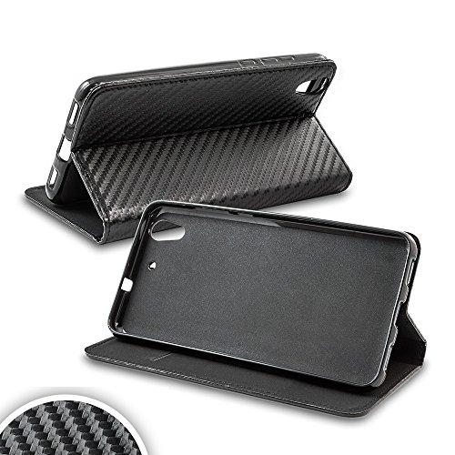 Bralexx Smart Bookstyle Tasche mit Standfunktion und Kartenfach in Carbon-Design schwarz (HTC 10 Evo)