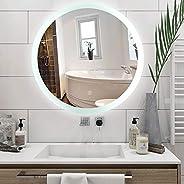 مراة حلاقة ذكية دائرية عالية الدقة من الفضة مع حزام LED ابيض مخصصة للتثبيت على الحائط ومضادة للضباب وصديقة للب