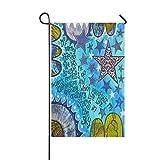 Dozili Gartenflagge gewöhnliche lebensechte Sterne Heimdekoration Wetterfest & doppelseitige Flagge, Polyester, bunt, 12.5