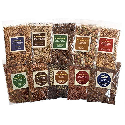 Bio-Sprossensamen-Mix (10 verschiedene Probenpackungen) 500 g/1 kg, gesundes Superfood in praktischen Packungen, über 15 Gemüse-Samen - Hülsenfrüchte - Körnersorten - leicht zu säßen - 1 kg