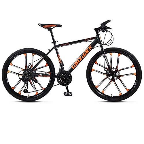 Adult Mountainbike Cross-Country-Rennrad 26 Zoll 27 Schaltsystem Vordere und hintere Doppelscheibenbremsen Männliche und weibliche Studenten Fahrräder EIN Rad Rot@10 Messer - schwarz orange_26 Zoll