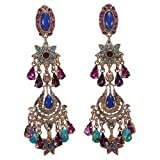 Israeli Amaro Jewelry Studio 'Wild Flower' Collection Fancy Chandelier Earrings Featuring Vintage Design Flower Elements Set with Drop and Round Stones: Chrysocolla, Lapis Lazuli, Abalone, Turquoise, Amethyst and Swarovski Crystals; 24K Yellow Gold Plated