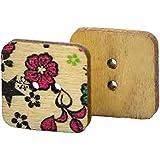 Botones - TOOGOO(R)100 piezas botones de album de recortes de coser de DIY de madera de flor colorida(cuadrado)