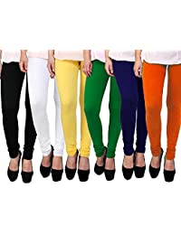 Gopani Multicolor Cotton Lycra Women's Leggings (6 Combo Black_White_Green_Yellow_Orange_Blue Medium)