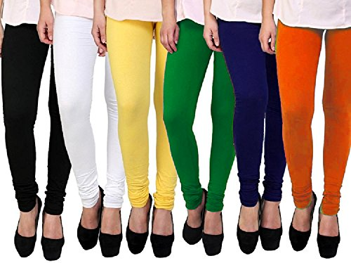 Gopani Multicolor Cotton Lycra Women\'s Leggings (6 Combo Black_White_Green_Yellow_Orange_Blue Medium)