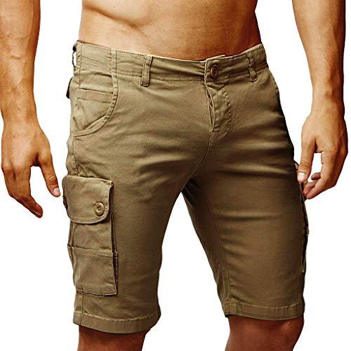 Männer-Button-Stil Baumwolle Einfarbig Multi-Pocket Overall Shorts Fashion Hosen -