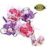 johouse Hochzeit Handgelenk Corsage Party Ball Hand Blume, Violett, Pink, 4Stück