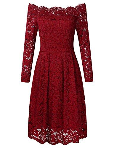 YesFashion Damen Kleid Spitzenkleid Abendkleid Partykleid Knielang A-Linie Langarm Rot 40 (Asin XL)