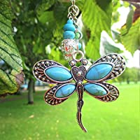 Dragonfly tibetan boho silver turquoise key-ring with gift bag