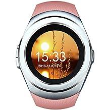 kivors Bluetooth SmartWatch Fitness Inteligente Reloj Pulsera Con Ranura Para Tarjeta SIM podómetro de seguimiento de actividad Monitor de sueño, notificaciones de control de cámara de sincronización para android/ios Smartphones