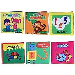 TOYMYTOY Libros de Tela para Bebes Animales Números Carácter Comida Color y Formas 6 Unidades