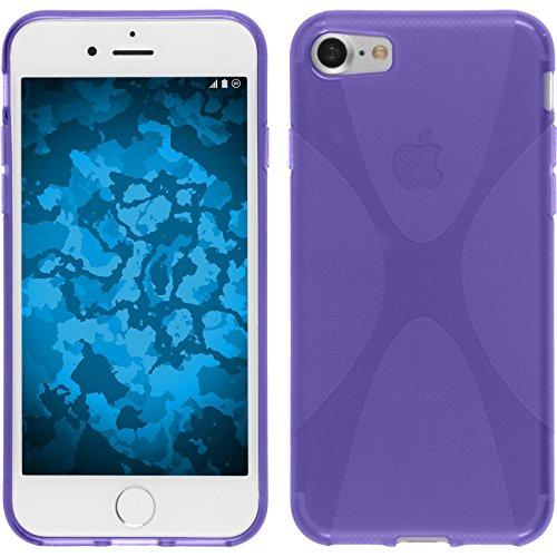Coque en Silicone pour Apple iPhone 7 - X-Style blanc - Cover PhoneNatic Cubierta + films de protection pourpre