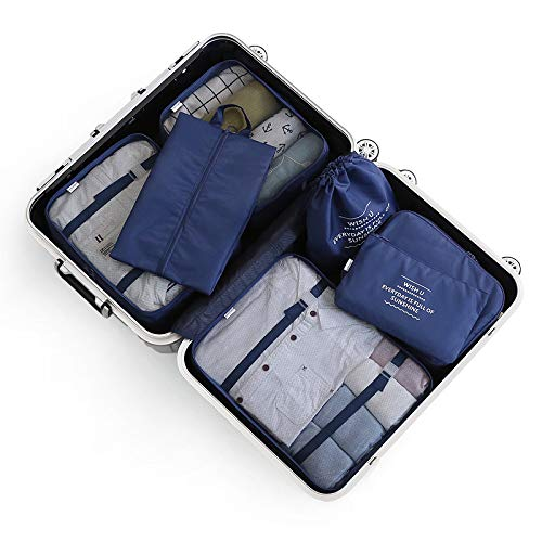 6/7 Sets Packing Cubes -3 Packing Cubes + 2 Pouches+ 1 Underwear Pouch + 1 Shoes Bag (Multi-Color Optional) Navy 6-Piece Set