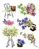 dpr. Fensterbilder Set 7-tlg. - Blumen Enzian Lilien u.a. Schmetterlinge - Fenstersticker Fensterdeko