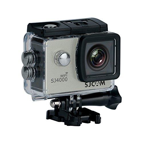 SJCAM SJ-4000-WiFi SJ4000 Deutsche Version wasserdichte Sport Actionkamera (5,08 cm (2 Zoll), FHD, 1080p, 30m, 12MP, 16 Zubehörteile) Silber - Wifi 4000 Sjcam