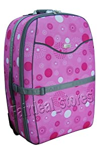 """31"""" (110 Litres) Wheeled Trolley Suitcase Strong Luggage Expandable Pink Printed Amazing Offer from Elegant"""