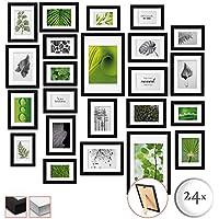 bomoe 24er Set Bilderrahmen Nature Bilder-Collagen Fotorahmen aus Holz, Plexiglas, Metall-Aufhängung, Aufsteller & Passepartout - 10x 10,5x15cm / 8X 13x18cm / 4X 15x20cm / 2X 20x30cm - Schwarz