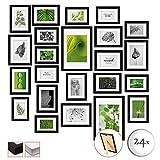 bomoe Set di 24 Cornici per foto Nature - Cornici foto collage - collage portafoto - Nero - Cornici foto multiple da Parete - cornici in legno 10x 10,5x15cm / 8x 13x18cm / 4x 15x20cm / 2x 20x30cm