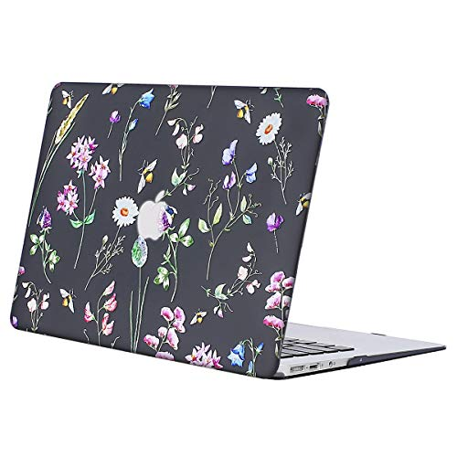 Vollständige Floralen Muster (MOSISO Hülle Kompatibel MacBook Air 13 - Ultra Slim Plastik Matt Hartschale Shell Case mit Muster Kompatibel MacBook Air 13 Zoll (A1369 / A1466, 2010-2017 Version), Schwarz Biene & Floral)