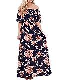 Touchie Damen Sommerkleider Lang Chiffon Blumen Kleider Schulterfreies Maxikleider Strandkleider Boho Beach Kleid S