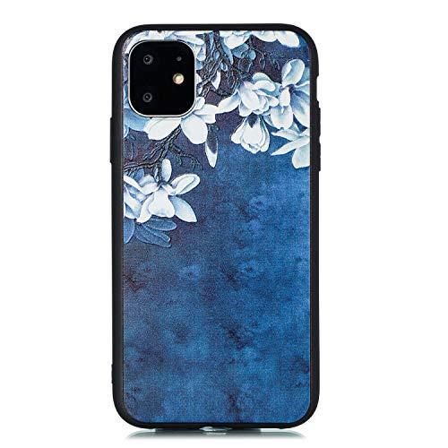 Miagon für iPhone 11 Pro Max (6.5 Zoll) Zurück Hülle,Blau Blume Muster Gedruckt Entwurf Plastik Weich Bumper Flexibel Schützend HandyHülle