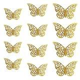 Oblique Unique® 3D Schmetterlinge 12er Set Metall Dekoration inkl. Klebepunkte Wandtattoo Wandsticker Wanddeko in Gold oder Silber - Farbe Wählbar (Gold)
