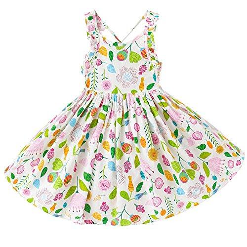 NACHEN Kleid für Mädchen großen Rock Baumwolle gedruckt pastoralen Mädchen Kleid , white , (Monate Alte Superhelden 18 Kostüme)