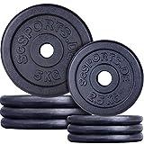 ScSPORTS 30 kg Hantelscheiben-Set 4 x 5 kg 4 x 2,5 kg Gusseisen Gewichte 30/31 mm Bohrung, durch Intertek geprüft + bestanden¹