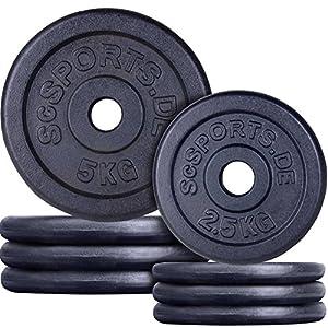 ScSPORTS 30 kg Hantelscheiben-Set, Gusseisen, Varianten 2×10+2×5 kg / 4×5+2×2,5+4×1,25 kg / 4×5+4×2,5 kg, durch Intertek geprüft + bestanden¹