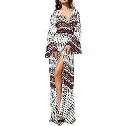 KE1AIP Womens Boho flojo cuello en V de playa de encubrimiento de manga larga lado vestido de vestir impreso bandage ajustable Maxi vestido White+Brown XXX-Large