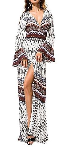 KE1AIP Womens Boho Loose V Neck Beach Cover-up à manches longues Side Slip Dress imprimé bandage ajustable Maxi Robe (One size(Specific dimensions see description), White+Brown)
