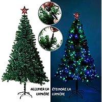 EFORINK Sapin de Noël Artificiel Lumineux 250 LED Multicolore + 7 Jeux de lumière - livré avec Son Pied - Hauteur 180 cm