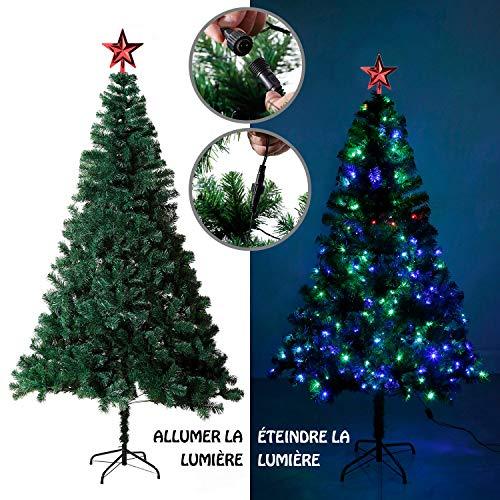 EFORINK Sapin de Noël Artificiel Lumineux 250 LED Multicolore + 7 Jeux de lumière -...